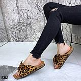 Женские шлепанцы с бантом, платформа 3 см, пудра, черные, красные, желтые, леопардовые, фото 9
