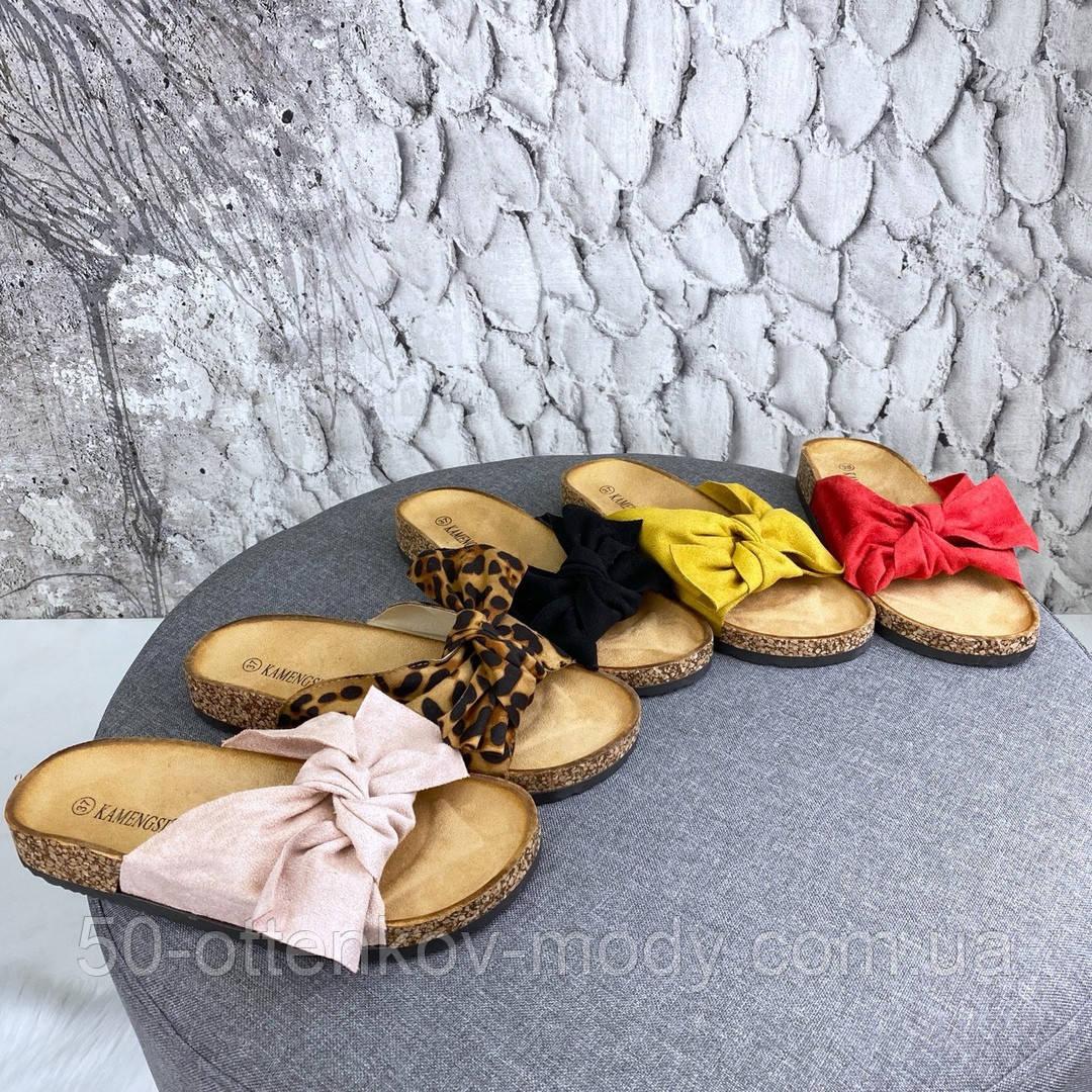Женские шлепанцы с бантом, платформа 3 см, пудра, черные, красные, желтые, леопардовые