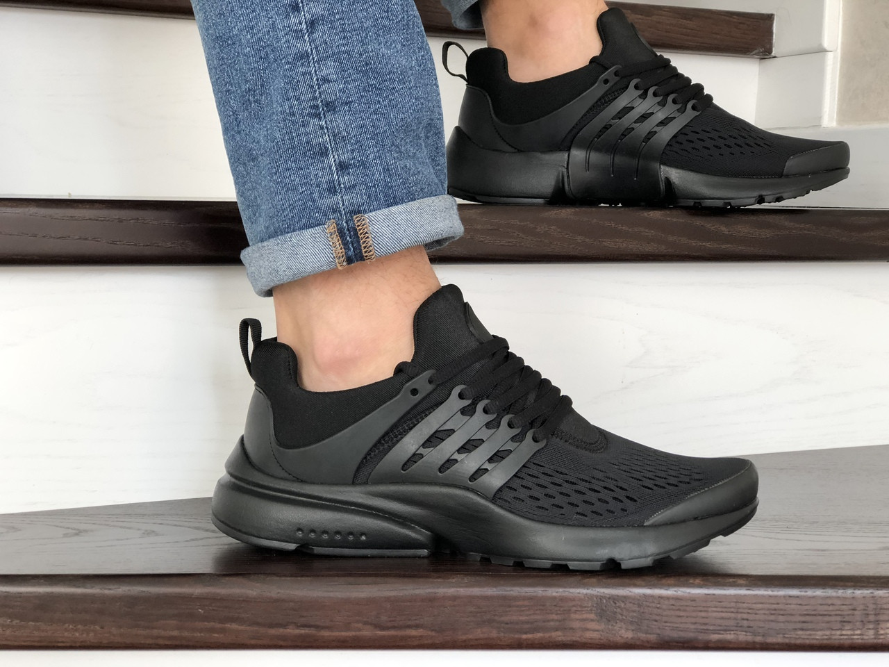 Кроссовки Nike air presto v2,сетка,черные 44р