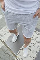 Мужские трикотажные шорты серого цвета с подворотом, фото 2