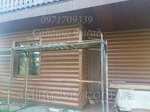 Блок хаус вініловий двухпереломний коричневий, дуб світлий