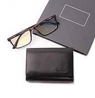 Кожаный женский черный кошелек портмоне тройного сложения Cardinal, кошелек из натуральной кожи