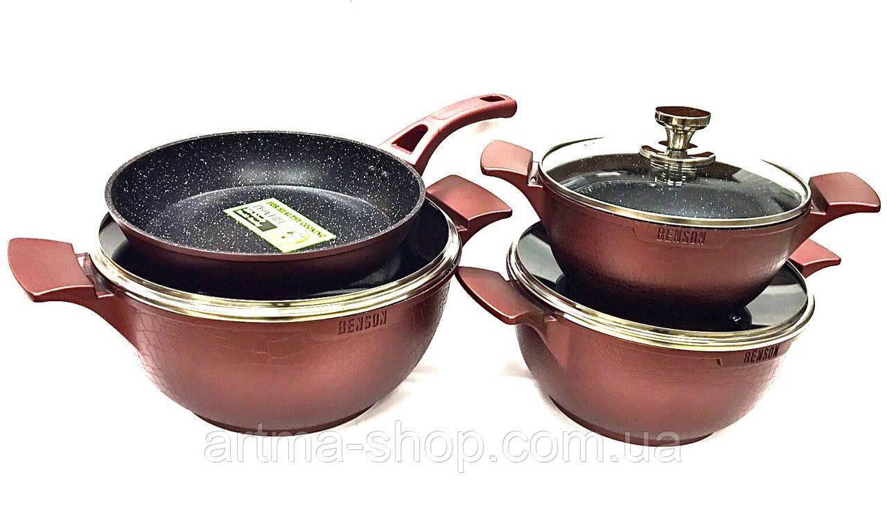 Набор посуды Benson с мраморным антипригарным покрытием 7 предметов, 3 кастрюли, 1 сковородка Красный