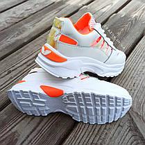 Кроссовки на толстой подошве черные в стиле fila фила эко кожаные перфорация сетка кросівки білі, фото 3
