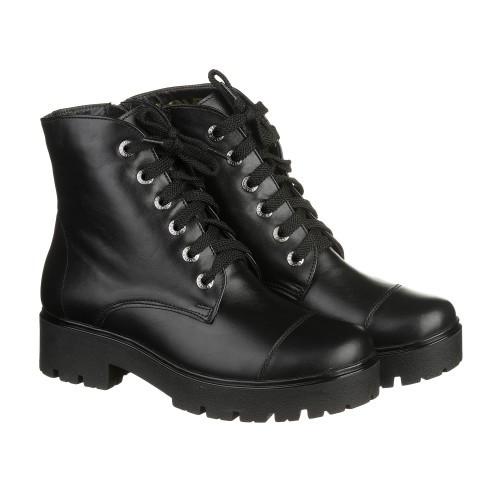 Черные зимние кожаные ботинки