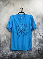 Футболка голубая - New York/Нью Йорк, Удобная футболка, Спортивная футболка, Унисекс, Футболки для полных!!