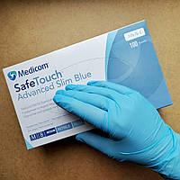 Нитриловые голубые перчатки Medicom SafeTouch M