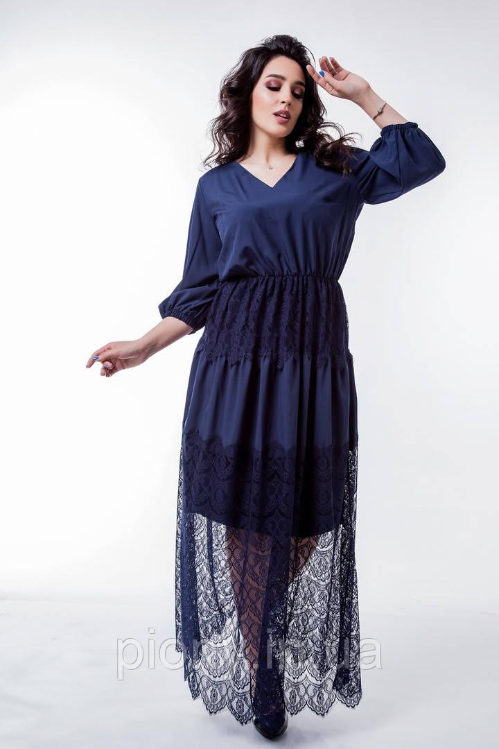 Женское Платье с гипюром Батал
