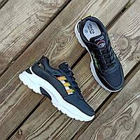 Кросівки на товстій підошві чорні в стилі fila філа еко шкіряні перфорація сітка чорні кросівки