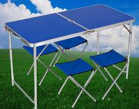 Стол для пикника и четыре стула, усиленный c двойной ножкой