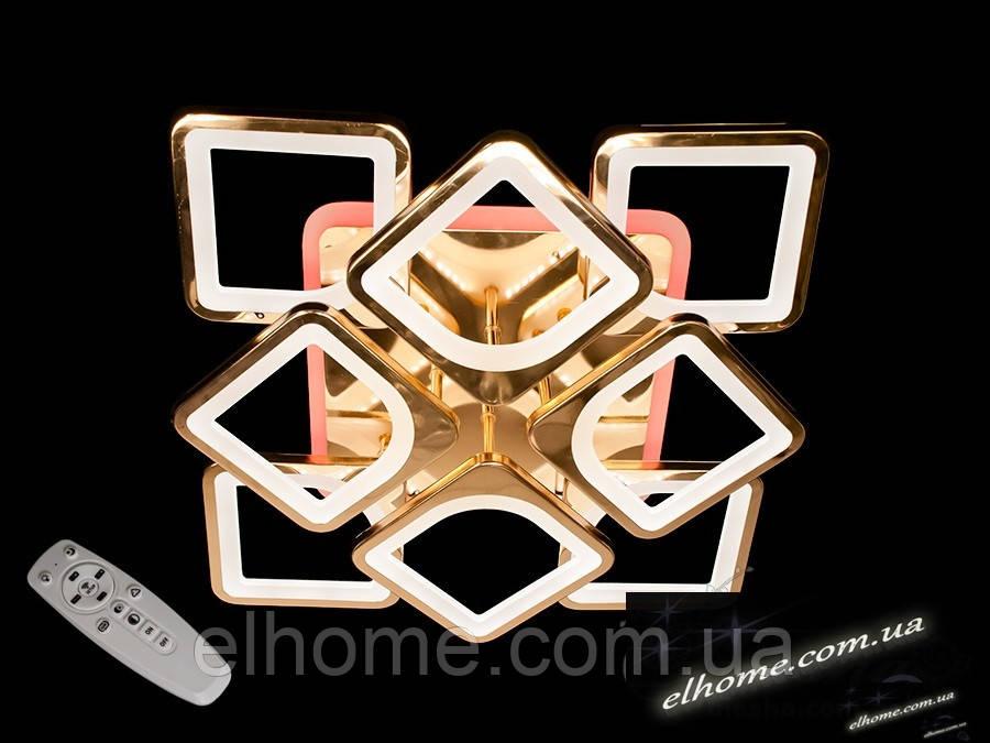 Стельова люстра з диммером і LED підсвічуванням колір золото 150W