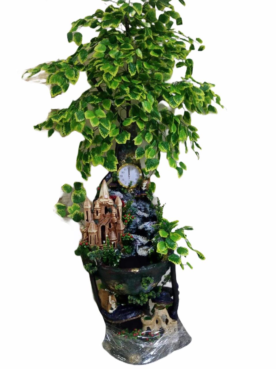 Кімнатний фонтан ручної роботи, для кімнатного затишку з замком, годинником та лісовими тваринами