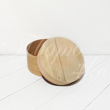 Коробка подарочная из букового шпона круглая 140*70 мм с глухой крышкой