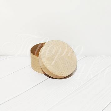 Коробка подарочная из букового шпона круглая 100*50 мм с глухой крышкой