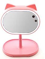Макияжное зеркало + настольная лампа 2 в 1 - розовое Fox