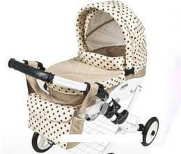 Игрушечная детская коляска для куклы Adbor Lily 10, 70х45х60 см., бежевый в горошек