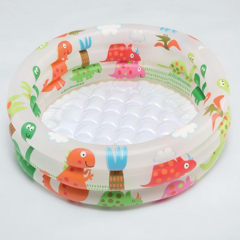 Детский надувной бассейн круглый 61х22 см Intex 57106 Динозаврик с надувным дном для дачи