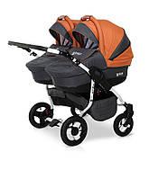 Детская коляска с матрасом для двойни 2 в 1 универсальная Verdi Twin 10, графит/оранж