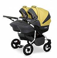 Универсальная детская коляска с матрасом 2 в 1 для двойни Verdi Twin 09, графит/желтый