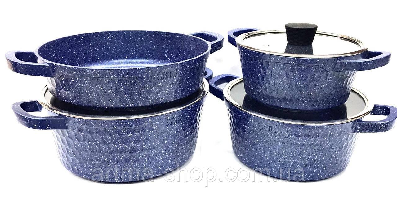 Набор кастрюль c мраморным покрытием Benson 7 предметов с антипригарным покрытием, 3 кастрюли, 1 сотейник