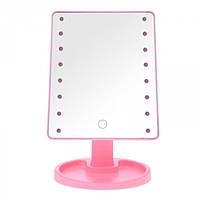 Зеркало для макияжа с LED подсветкой Large Led Mirror 16 LED Розовый, фото 1