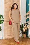 Стильный летний костюм блуза + брюки, сочетается с любой обувью р.48-50,52-54,56-58,60-66, 3 цвета 3336Ф, фото 2