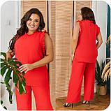Стильный летний костюм блуза + брюки, сочетается с любой обувью р.48-50,52-54,56-58,60-66, 3 цвета 3336Ф, фото 4