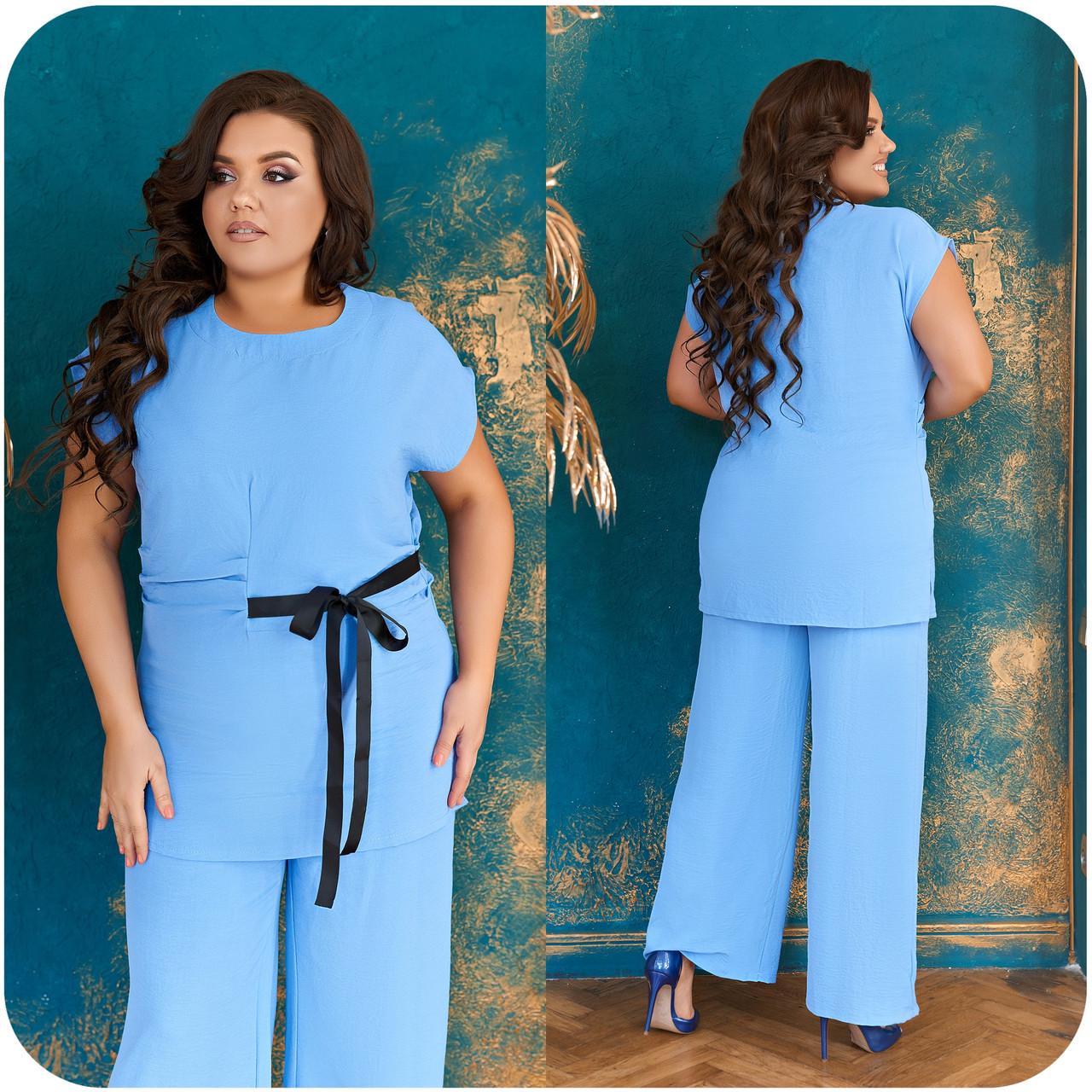 Невероятно стильный и комфортный летний женский костюм блуза + брюки. р.48-50,52-54,56-58,60-66, 3 цвета 3337Ф