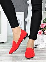 Туфли лодочки на низком ходу красные 7366-28