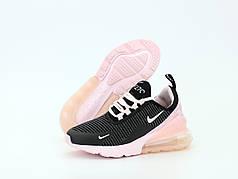 Женские кроссовки Nike Air Max 270 Pink/Black . ТОП Реплика ААА класса.