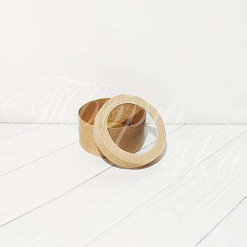 Коробка подарочная из букового шпона круглая 100*50 мм с прозрачной крышкой