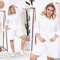 Стильний жіночий костюм футболка+шорти з жниварки і батіста, рукав довгий подкатывающийся в 3/4(42-58), фото 1