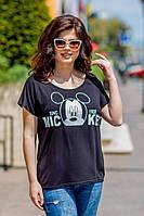 Стильная женская футболка из турецкой вискозы  в полоску и с принтом(48-54), фото 1