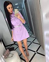 Стильное женское коттоновое платье, рукав 3/4 на пуговицах с поясом в комплекте(42-46), фото 1
