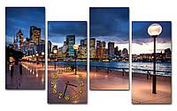 Синие Часы картина модульная Вечерняя набережная 30x64 30x64 30x64 30x64 см, корпоративный подарок