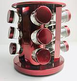 Набор для специй Benson на 12 баночек и подставка Нержавеющая сталь Красный