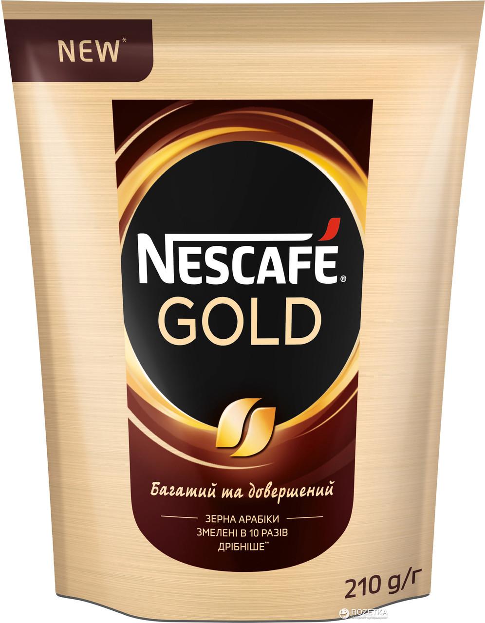 Кофе Nescafe Gold растворимый с добавлением молотого 210 грамм в мягкой упаковке