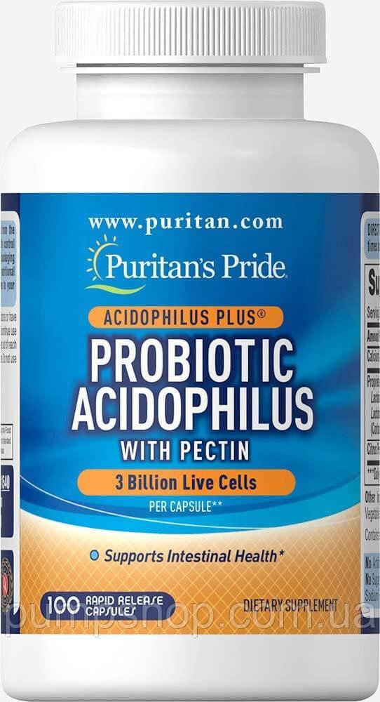 Пробіотик ацидофільний з пектином Puritan's Pride Probiotic Acidophilus with Pectin 100 капс.