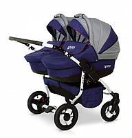 Детская коляска с матрасом для двойни 2 в 1 универсальная Verdi Twin 01, графит/синий