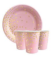 """Набор одноразовой посуды """" Конфетти на розовом """" Тарелки -10 шт Стаканчики - 10 шт."""