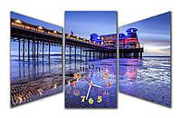 Необычные синие Часы картина модульная Ночной залив 30x57 30x57 30x57 см