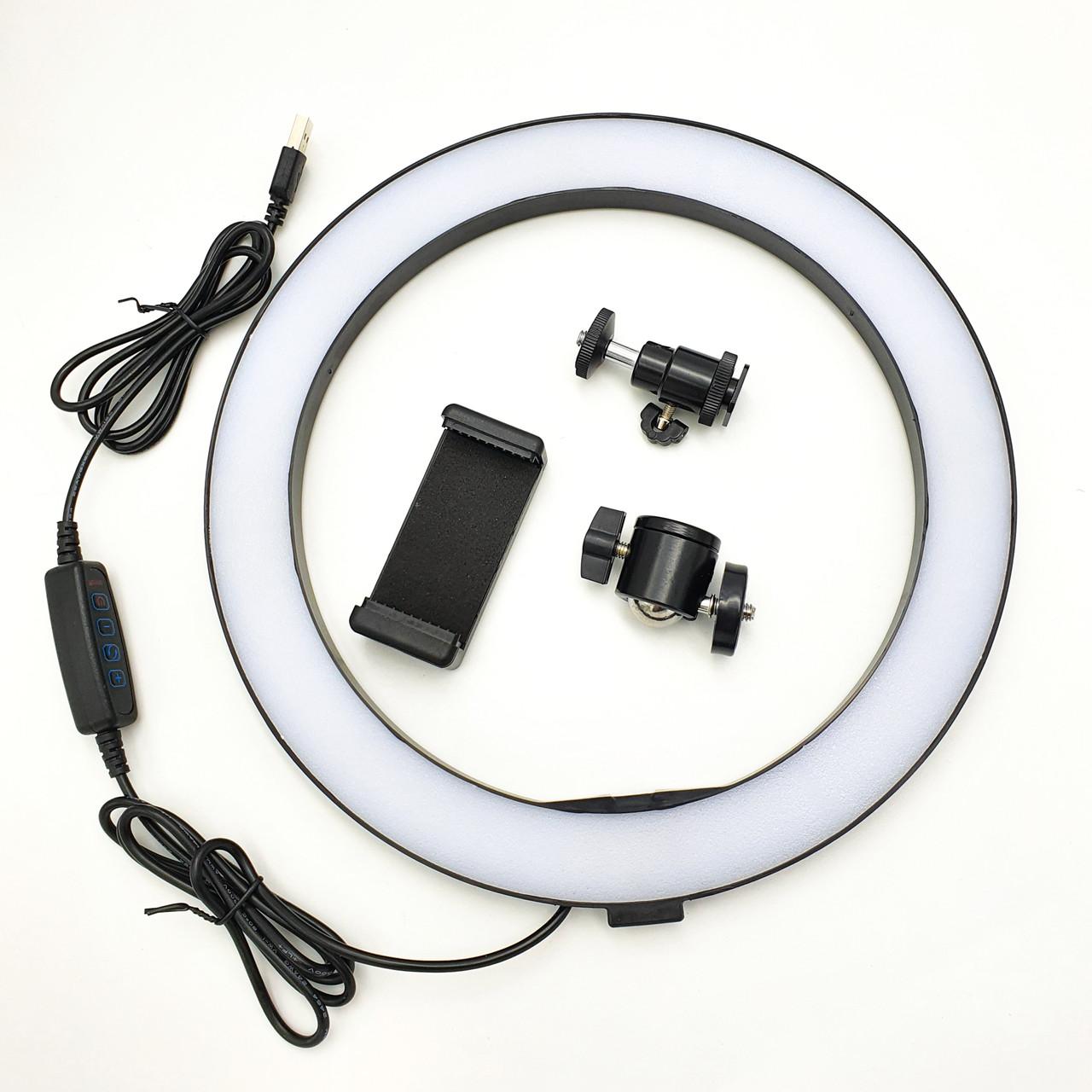 Кільцева LED лампа 26см 12W з тримачем телефону селфи кільце блогера регулювання яскравості і температури