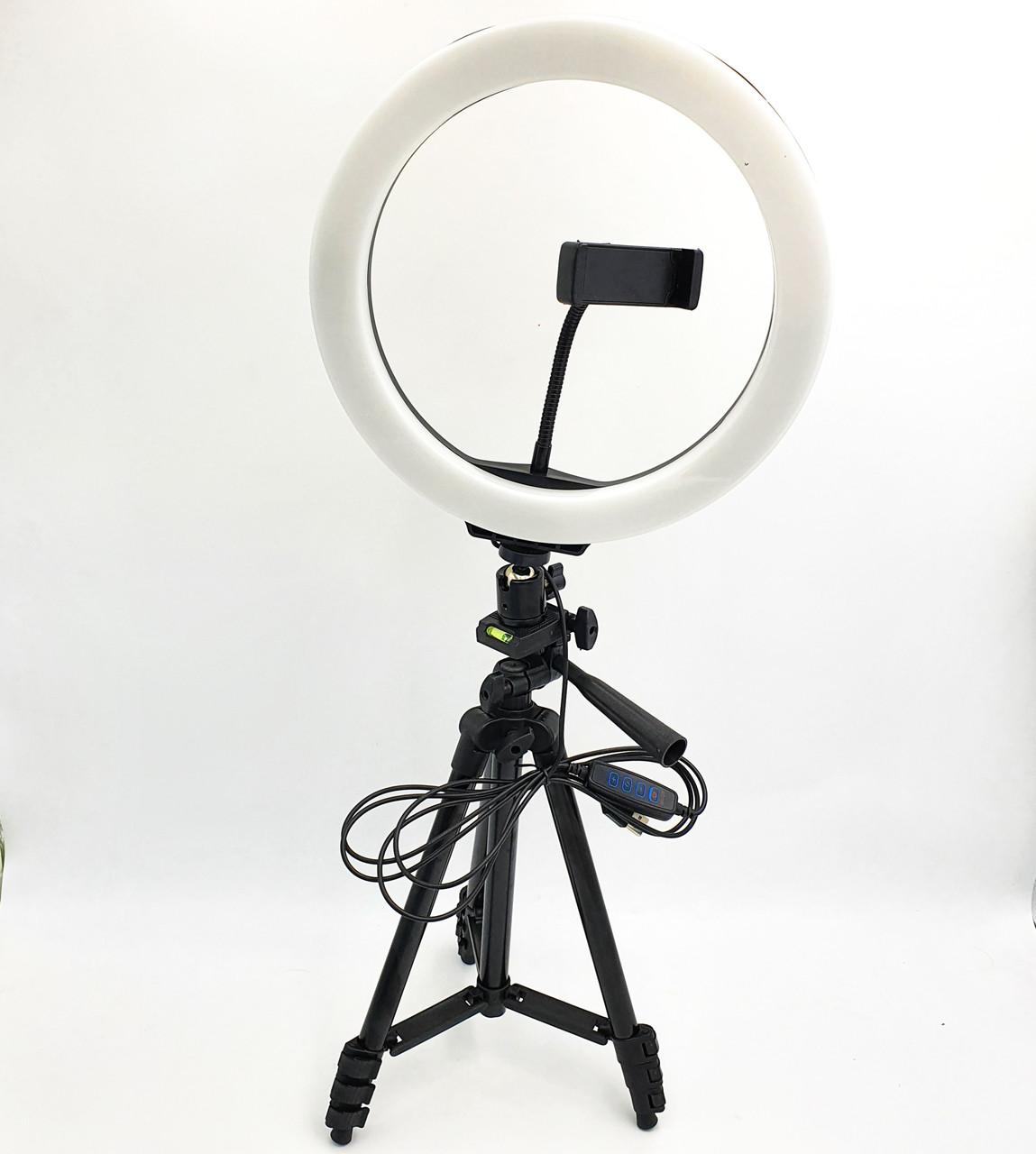 Набор блогера 2в1 кольцевая LED лампа 26 см 12W с держателем телефона и штатив 102 см селфи кольцо регулировка