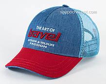Бейсболка из коттона с вышивкой двухцветная синий с красным козырьком