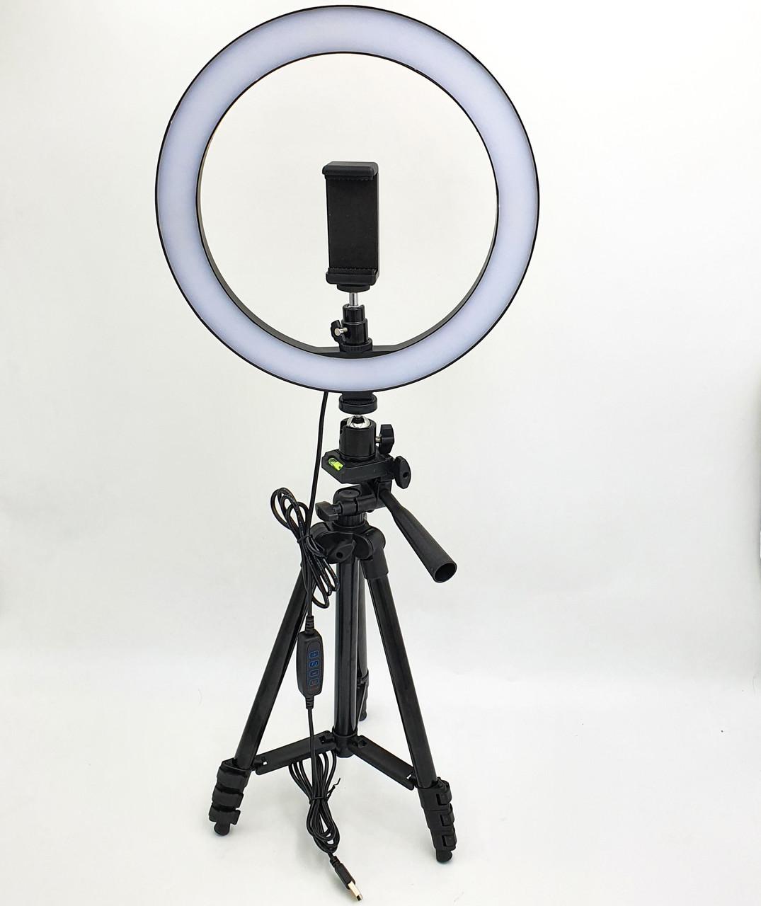 Набор блогера 2в1 кольцевая LED лампа 26см 12W с держателем телефона и штатив 102 см регулировка яркости и