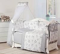 """Постельное белье в детскую кроватку из 8 элементов Twins Dolce D-005 """"Мишки"""", серый"""