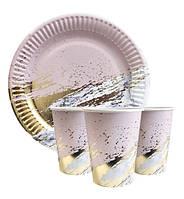 """Набор одноразовой посуды """" Розовый мрамор с золотом """" Тарелки -10 шт Стаканчики - 10 шт."""