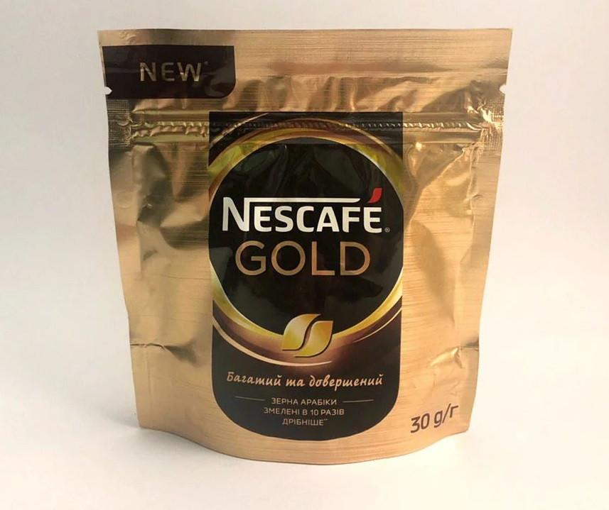 Кофе Nescafe Gold растворимый с добавлением молотого 30 грамм в мягкой упаковке