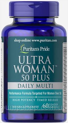 Вітаміни для жінок Puritan's Pride Ultra Woman 50 Plus 60 капс., фото 2