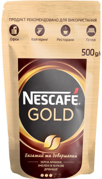 Кофе Nescafe Gold растворимый с добавлением молотого 500 грамм в мягкой упаковке